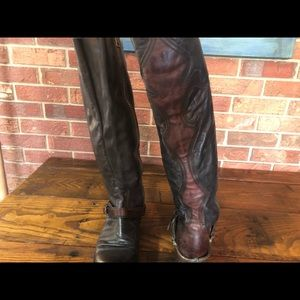 Freebird by Steven Shoes - Black and Maroon Riding Boots